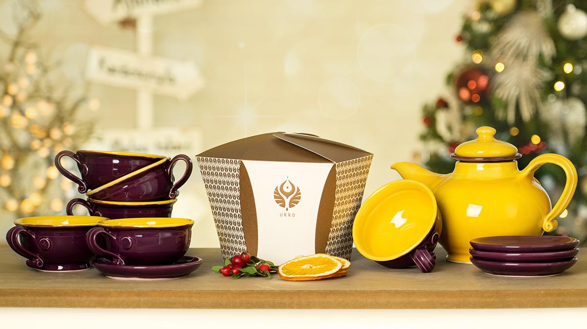 Díszdobozos tea válogatás, Napsárga-padlizsán teáskészlettel, karácsonyra